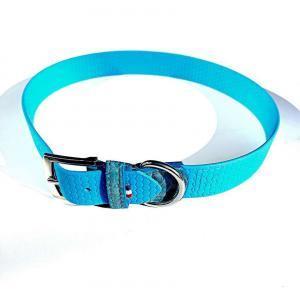 Collier Chien Amy en biothane imprimé bleu ciel et Crocodile Véritable bleu ciel Taille XL