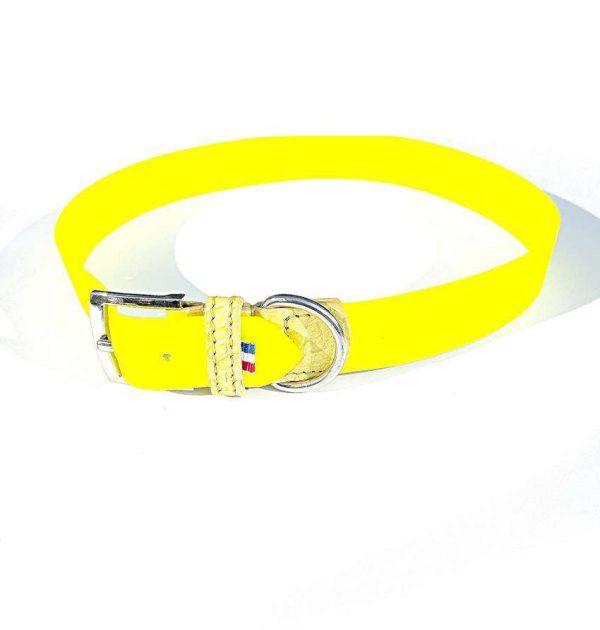 Collier Chien Amy en biothane imprimé jaune fluo et Crocodile Véritable jaune Taille XL