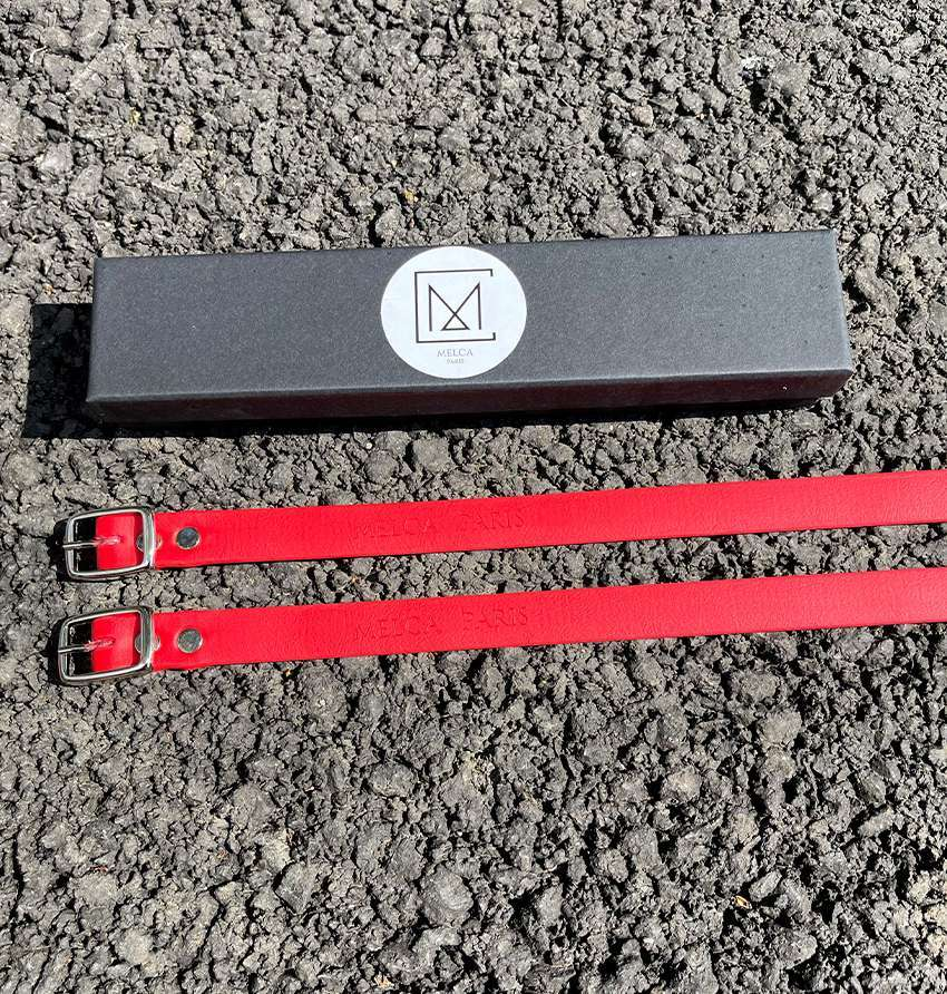 Lanières à éperons rouge